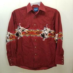 Wrangler Pearl Snap Western Shirt Red Bull Riding